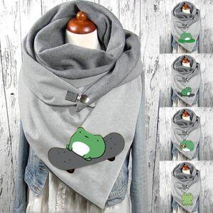 Fashion Women Cotton Cartoon Animal Print Warm Button Turban Scarf 2021 Hot Sale Frog Print Scarf Winter Warm bimba y lola F