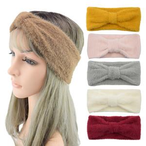 Imitation mink velvet headband thickened bowknot knitted headband new warm wool headgear European and American headwear