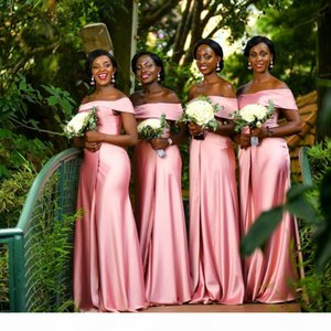 Sexy Pink Plus Size Bridesmaids Dresses Off Shoulder Cheap Simple Long Satin African Country Wedding Guest Gowns Maid Of Honor