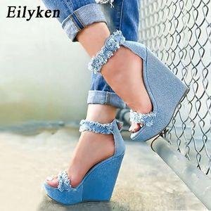 Eilyken 2021 New Designer Denim Sandals Summer Roman Sandals High Quality Wedges High Heels Peep-Toe Platform Shoes Woman 210225