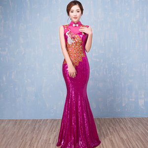 2021 Banquet Fishtail Long Etiquette Performance Stage Annual Meeting Evening Bride Toast Dr
