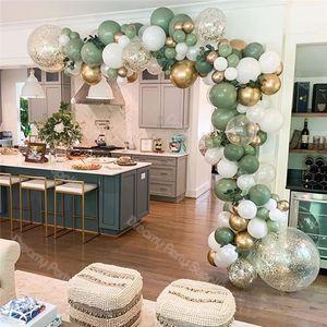 142pcs Balloons Garland Kit Birthday Retro Dusty green Balloon Arch Chrome Gold Confetti Globos Baby Shower Wedding Party Decor
