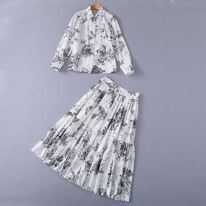 210 2021 Vestido de pista Spring Summer Free Shippi de manga larga Cuello de solapa moda ropa para mujer ropa de dos piezas de mujer vestido sh