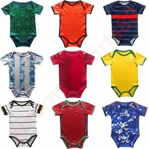 Nouveau 20 21 Team National Baby Soccer Jersey Espagne Argentine Enfants Costume 2020 2021 Mois garçons BB BB Pays-Bas Hollande Ensemaines Chemise de football
