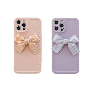 Cartoon Purple Bowknot Phone Case for IPhone 12 11 Pro MAX X XR XS Max 7 8plus Tassel Case Soft Tpu Cover Case for IPhone12PRO
