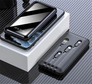 20000 мАч Power Bank, построенный в 4 кабелях Полноэкранный экран PowerBank Портативный внешний батареи для мобильного телефона с помощью кабеля Micro USB типа C E1