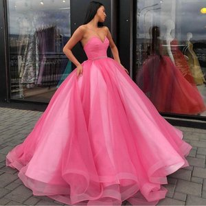 Puffy Pink Ball Gown Evening Dresses 2021 Sweetheart Strapless Long Tulle Prom Party Gowns Sleeveless Sexy Backless Engagement Dress