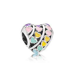 2021 Authentic 925 Sterling Silver Color enamel Love Heart Charms Original box for Pandora Beads Charms Bracelet jewelry making