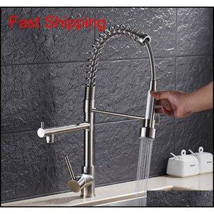 Luxury Gold Color Cucina rubinetto rubinetto Due beccucci girevoli Extensible Spring Mixer Tap Estrarre il lavello della cucina Qyllpve Bodent