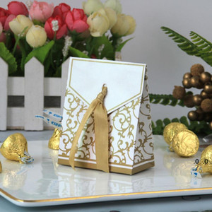New 10pcs Creative Golden Silver Ribbon Wedding Favours Party Gift Candy Paper Box Cookie Candy gift bags Event Party Supplies FWA3767