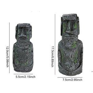 Resin Artificial Aquarium Easter Island Statue Ornament Underwater Landscaping Craft Ornaments Fish Tank Decoration Accessories FWE7402