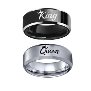 8mm Silver Black King Queen Stainless Steel Band Couple Rings Crown Gift Size 6-13