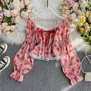 Korean Plaid Print Blouses Shirt Women Fashion Long Puff Sleeve Lace Decoration Ruffles Short Blouse Tops Feminine