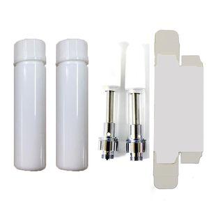 0,8 ml Cartridge Cartridge Packaging Box Bianco Atomizzatori personalizzati Bottiglia per bambini Vaporizzatore Vaporizzatore Vetro Vuoto Vuoto Penna VAPE Adesivi OEM OEM