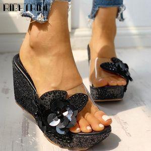 Dropship Girl flower hot sale shoes open toe bling 여름 여성 샌들 높은 웨지 플랫폼 새로운 샌들