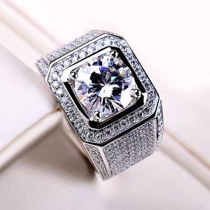 Artificial Mosan stone ring 18K white gold full of diamond luxury men's ring D-color ring