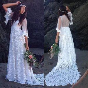 빈티지 보헤미안 웨딩 드레스 2021 라인 얇은 다시 신부 가운 스윕 기차 절반 슬리브 웨딩 파티에 대 한 우아한 신부 가운