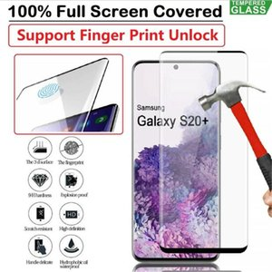 Fingerprint Unlock 3D Curved Tempered Glass Screen Protector For Samsung Galaxy S20 Plus S20 Ultra Edge Glue