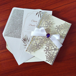 Snowflake Glitter Personalized Printing Wedding Invitation Cards with Blue Rhinestone DIY Laser Cut Bridal Shower Invites