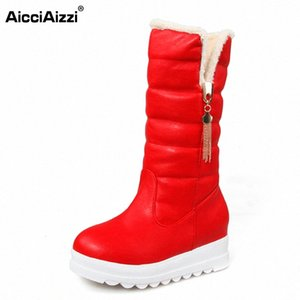 AicciAizzi Size 33 43 Women Wedges Mid Calf Boots Thick Fur Platform Short Boots Warm Fur Shoes For Winter Botas Women Footwear X5WO#