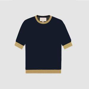 2021 Neue Frauen Täfelte Brief Druckhülse Kurze Frau T Shirts Ältere Ins Trendy Frauen strickt Dame Top Frühling Sommer Mode T-Shirt Kleidung