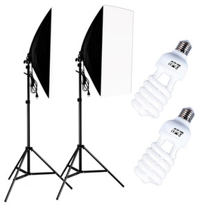 Fotografia 50x70cm Softbox Kit di illuminazione Kit di illuminazione professionale Sistema di luce professionale con E27 Photographic 45W Bulbi Foto Studio