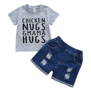 2021 Summer Casual Boys Suits Baby Sets Cotton Letter T Shirt+Hole Jeans Shorts 2Pcs Toddler Clothes Infant Wear 0-3Y B3778