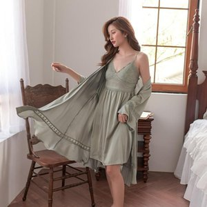 Spring Autumn 2 Pieces Women's Robe Sets Satin Hot Sexy Lingerie Vintage Sleepwear Female Home Wear