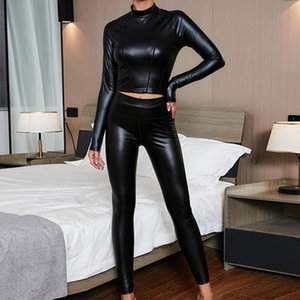 Women's Two Piece Pants Exposed Navel Black Blouse Faux Leather Pullover High Collar Top Waist Ladies Clothes Casual Street Wear