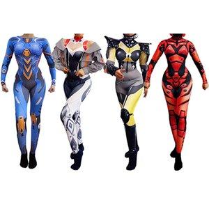Будущий воин комбинезон комбинезон косплей костюм с длинным рукавом растягивался напечатанный DJ Gogo Dancer Outfit Headgear цельный этап носить VDB3166