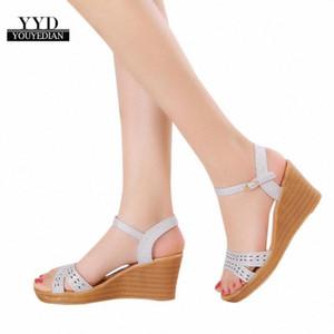 Ruwomen Balık Ağız Platformu Youyedian Gemi Yüksek Topuklu Kama Sandalet Toka Yamacı Sandalet Botas Mujer # A4 R1XX #