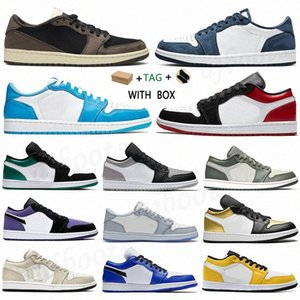 2021 men women Tag 1 1s Low Basketball Shoes UNC Paris Sneakers jumpman Game Royal Gym Red Banned grey black sail toe GS Tri-color washed denim Trainers 7QZs#