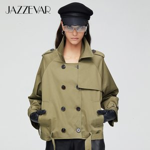 Jazzevar 2021 New Arrival Autumn Trench Coat Women Fashion Cotton Double Breasted Short Loose Clothing Outerwear 9018