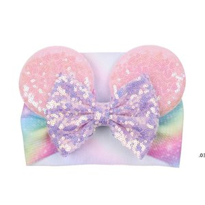 Big bow wide haidband cute baby girls hair accessories sequined mouse ear girl headband new design holidays makeup costume band FWD4943