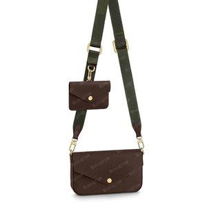 2021 Cross Body Bag Multi Pochette Mujeres 3in1 Bolsas Crossbody Bolsos Hombro Genuino Real Cuero Bolso Bolso Totes Felicie Strap GO 80091 CON CAJA DE CAJA DE CAJA # Fgo-01