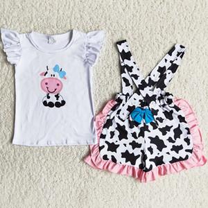New Design Toddler Baby Girls Ropa Suspender Diseño Bow Boutique Girls Ropa Traje de verano Equipo de granja Impresión al por mayor Ropa para niños RTS