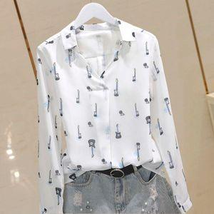 2021 new autumn Long Sleeve guitar Print Chiffon shirt ol temperament Korean version base coat female