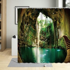 Shower Curtains Cave Natural Curtain Hook Forest Green Plants Waterfall Landscape Wall Decoration Hanging Polyester Bathroom Set