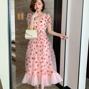 Summer Runway Hot Drill Strawberry Dress Women Sweet Long Flare Sleeve V-Neck Empire Lace-up Sheer Mesh Holiday Pink Lady Dress 210222