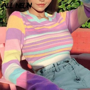 E-girl Sweet Autumn O-neck Long Sleeve Straped Sweaters Casual Looesd Rainbow Knitted Pollovers 90s Streetwear Chic New