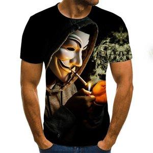 T-shirt imprimé 3D Hommes Joker Visage Casual Couleur O-Cou Homme Tshirt Clown Court Manches Funny T Shirts 2020 T-shirt T-shirt Homme