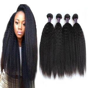 2021 8A Brazilian Virgin Hair 4 Bundles Kinky Straight Human Hair Extensions Coarse Yaki Straight for Women Girls All Ages Natural Color 8-2