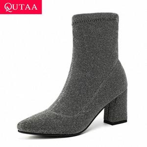 QUTAA 2020 Streç Flock Kadınlar Çizmeler üzerinde Kayma Kalın Yüksek Topuk Rahat Ayak Bileği Çizmeler Moda Sivri Burun Kadın Ayakkabı Büyük Boy 34 43 Fringe H9F4 #