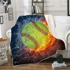 200 * 150 cm Designer Blanket Baseball Football Sherpa Towel Softball Coperta Sport Tema Soccer Asciugamani da bagno Swadding Coperte HWD5022