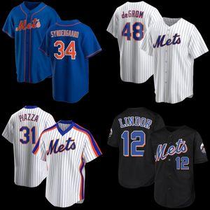 12 Francisco Lindor Neue 20 Pete Alonso 48 Jacob Degrom York Mike Piazza Mets Noah Syndergaard Darryl Strawberry Baseball Trikots Z3