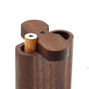 Деревянная собачья чехол натуральный ручной работы деревянная герметичность с керамической подтягивающей металлической очисткой Крюк-крюк табака курение трубы портативный HWF5435