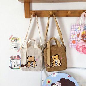 Femmes Sac à bandoulière mignonne côtelé Broderie Broderie Soft Soft Messenger Sac Coréen Filles School Style Petit sac à main