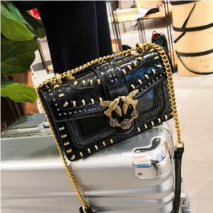 Swallow Crossbody Bag for Women New Fashion Rivet Shoulder Chain Bags Lady Purses and Handbags Wallet on