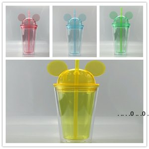 16oz Clear Mouse Ear Tumblers with Straw 450ml Mouse Ears Mug Acrylic Plastic Water Bottles Cute Child Cups sea shipping EWD5093