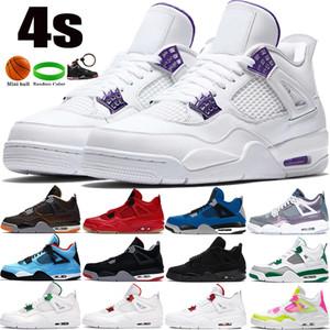 2021 Yeni 4 4s Erkekler Basketbol Ayakkabıları Metalik Mor Kara Kedi Denizyıldızı Pin Yeşil Bred Kaktüs Jack Ne Mens Eğitmenler Sneakers